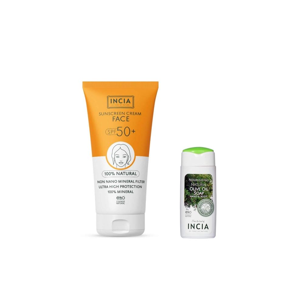 Yüz İçin Güneş Kremi Yoğun Nemlendiricili Zeytinyağlı Doğal Sıvı Sabun Avantajlı Paket